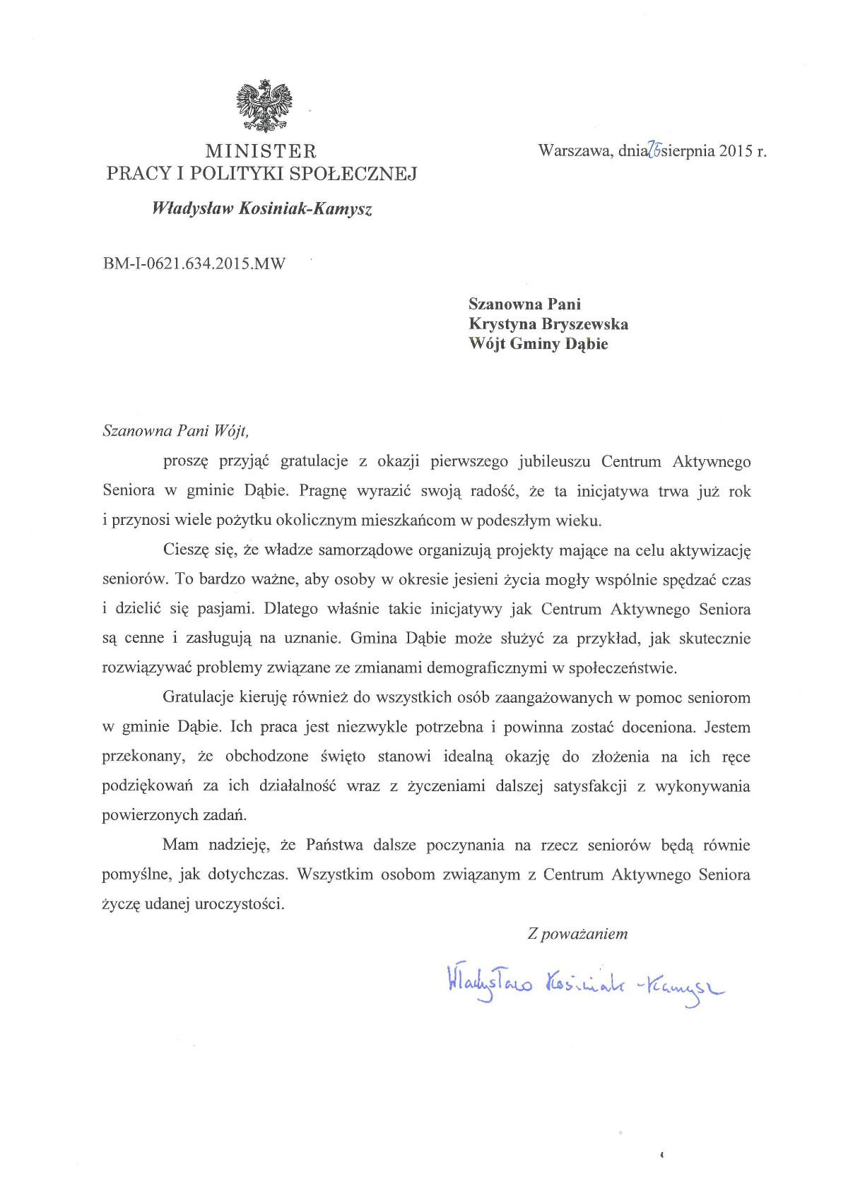 list gratulacyjny CAS
